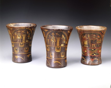 Inca. <em>Kero Cup</em>, 16th century. Wood; lacquered, 7 3/8 x 6 15/16in. (18.7 x 17.6cm). Brooklyn Museum, Museum Expedition 1941, Frank L. Babbott Fund, 41.1275.5. Creative Commons-BY (Photo: Brooklyn Museum, 41.1275.5_SL4.jpg)