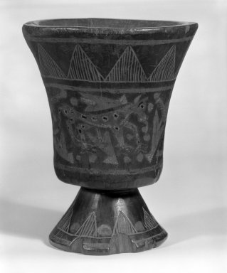 Inca. <em>Kero Cup with a Stemmed Foot</em>. Wooden lacquered, 5 7/8 x 4 3/4 in.  (14.9 x 12.1 cm). Brooklyn Museum, Museum Expedition 1941, Frank L. Babbott Fund, 41.1275.6. Creative Commons-BY (Photo: Brooklyn Museum, 41.1275.6_view1_bw.jpg)