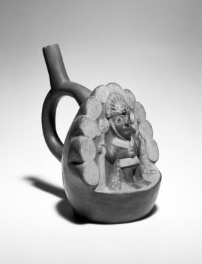 Moche. <em>Stirrup Spout Vessel with Priest or Deity</em>, 100-600 C.E. Pottery, 8 1/4 x 5 7/8 x 7 1/2 in. (21.0 x 14.9 x 19.1 cm). Brooklyn Museum, Museum Expedition 1941, Frank L. Babbott Fund, 41.1275.81. Creative Commons-BY (Photo: Brooklyn Museum, 41.1275.81_bw.jpg)