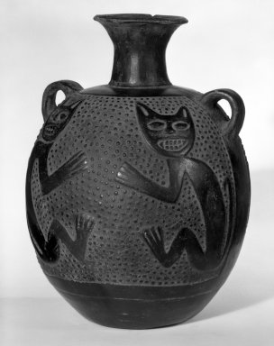 Chimú. <em>Jar with Small Looped Handles and Feline Design</em>, ca.1100-1400. Ceramic, 9 1/2 x 6 in. (24.1 x 15.2 cm). Brooklyn Museum, Museum Expedition 1941, Frank L. Babbott Fund, 41.1275.83. Creative Commons-BY (Photo: Brooklyn Museum, 41.1275.83_bw.jpg)