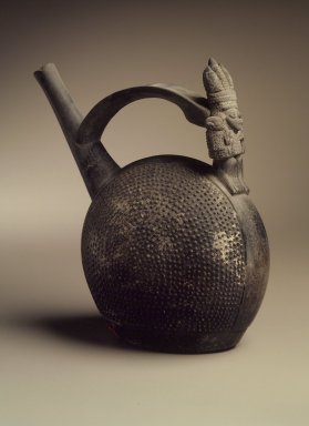 Chimú. <em>Whistling Bottle with Human Figure</em>, ca.1100-1400. Ceramic, 8 x 4 1/4 x 6 1/2 in. (20.3 x 10.8 x 16.5 cm). Brooklyn Museum, Museum Expedition 1941, Frank L. Babbott Fund, 41.1275.85. Creative Commons-BY (Photo: Brooklyn Museum, 41.1275.85.jpg)