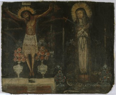 Unknown. <em>Christ of the earthquakes with Our Lady of Sorrows on the Altar</em>. Oil on canvas, reduced, 25 x 30 3/8 in. Brooklyn Museum, Museum Expedition 1941, Frank L. Babbott Fund, 41.1276.7 (Photo: Brooklyn Museum, 41.1276.7_SL1.jpg)