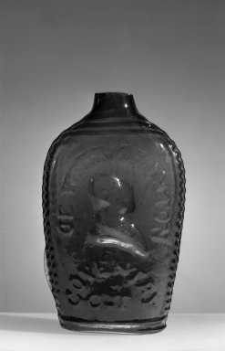Coventry Glass Works. <em>Pint Whiskey Flask</em>, ca. 1852. Blown molded glass, 6 7/8 x 3 in. (17.5 x 7.6 cm). Brooklyn Museum, Gift of Arthur W. Clement, 41.135. Creative Commons-BY (Photo: Brooklyn Museum, 41.135_acetate_bw.jpg)