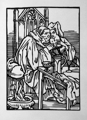 Émile Bernard (French, 1868-1941). <em>Drinking the Wine</em>, 1918. Woodcut printed on laid paper, 10 5/8 x 7 11/16 in. (27 x 19.5 cm). Brooklyn Museum, Ella C. Woodward Memorial Fund, 41.217.1 (Photo: Brooklyn Museum, 41.217.1_bw.jpg)