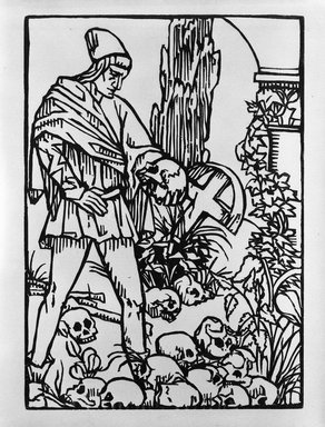 Émile Bernard (French, 1868-1941). <em>Warrior Holding a Skull</em>, 1918. Woodcut printed on laid paper, 10 13/16 x 7 5/8 in. (27.5 x 19.4 cm). Brooklyn Museum, Ella C. Woodward Memorial Fund, 41.217.4 (Photo: Brooklyn Museum, 41.217.4_bw.jpg)