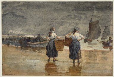 Winslow Homer (American, 1836-1910). <em>Fisher Girls on the Beach, Cullercoats</em>, 1881. Watercolor, 13 1/8 x 19 3/8 in. (33.4 x 49.3 cm). Brooklyn Museum, Museum Collection Fund, 41.219 (Photo: Brooklyn Museum, 41.219_SL3.jpg)