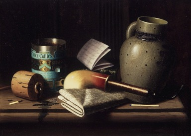 William Michael Harnett (American, 1848-1892). <em>Still Life with Three Castles Tobacco</em>, 1880. Oil on canvas, 10 3/4 x 15 in. (27.3 x 38.1 cm). Brooklyn Museum, Dick S. Ramsay Fund, 41.221 (Photo: Brooklyn Museum, 41.221.jpg)