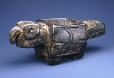 <em>Parrot Mortar</em>, 600-1532 C.E. Mottled stone, 4 3/8 x 4 1/8 x 11 3/8 in.  (11.1 x 10.5 x 28.9 cm). Brooklyn Museum, A. Augustus Healy Fund, 41.235. Creative Commons-BY (Photo: Brooklyn Museum, 41.235_SL1.jpg)
