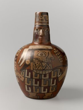Wari. <em>Face Neck Jar</em>, 650-1000 C.E. Ceramic, slip, pigments, 7 x 4 1/2 x 4 1/2 in. (17.8 x 11.4 x 11.4 cm). Brooklyn Museum, Henry L. Batterman Fund, 41.418. Creative Commons-BY (Photo: Brooklyn Museum, 41.418_front_PS6.jpg)