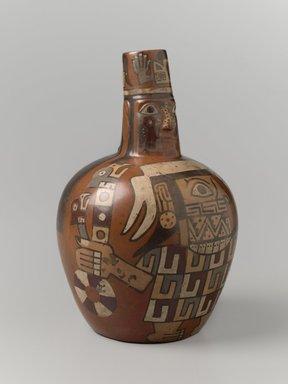 Wari. <em>Face Neck Jar</em>, 650-1000 C.E. Ceramic, slip, pigments, 7 x 4 1/2 x 4 1/2 in. (17.8 x 11.4 x 11.4 cm). Brooklyn Museum, Henry L. Batterman Fund, 41.418. Creative Commons-BY (Photo: Brooklyn Museum, 41.418_threequarter_PS6.jpg)