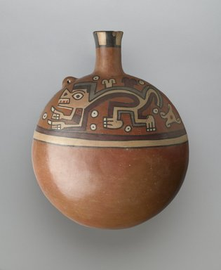 Wari. <em>Canteen-Shaped Vessel</em>, 650-1000 C.E. Ceramic, slip, pigments, 10 1/2 x 8 1/2 x 4 1/2 in. (26.7 x 21.6 x 11.4 cm). Brooklyn Museum, Henry L. Batterman Fund, 41.420. Creative Commons-BY (Photo: Brooklyn Museum, 41.420_side1_PS6.jpg)