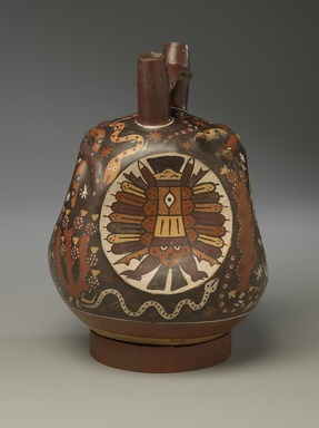 Nazca. <em>Double-Spout, Bridge-Handle Vessel</em>, 325-440. Ceramic, pigments, 9 1/4 x 7 x 6 1/4 in. (23.5 x 17.8 x 15.9 cm). Brooklyn Museum, Henry L. Batterman Fund, 41.423. Creative Commons-BY (Photo: Brooklyn Museum, 41.423_side2_PS6.jpg)