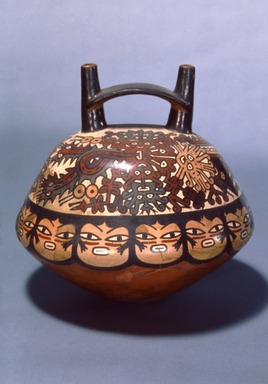 Nazca. <em>Double Spout and Bridge Bottle</em>, circa 600 C.E. Ceramic, polychrome slip, 8 x 8 x 8 in. (20.3 x 20.3 x 20.3 cm). Brooklyn Museum, Henry L. Batterman Fund, 41.426. Creative Commons-BY (Photo: Brooklyn Museum, 41.426.jpg)