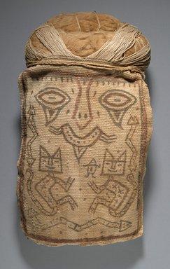 Paracas Ocucaje. <em>False Head for Burial Bundle or Mummy Mask</em>, 100 B.C.E. - 1 C.E. Cotton, pigments, 13 1/2 x 7 1/4 x 3 in. (34.3 x 18.4 x 7.6 cm). Brooklyn Museum, Henry L. Batterman Fund, 41.428. Creative Commons-BY (Photo: Brooklyn Museum, 41.428_PS6.jpg)