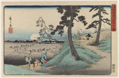 Utagawa Hiroshige (Ando) (Japanese, 1797-1858). <em>Listening to Crickets at Dōkan Hill, from the series Famous Places in the Eastern Capital</em>, ca. 1839-1842. Color woodblock print on paper, 8 3/4 x 13 7/16 in. (22.2 x 34.2 cm). Brooklyn Museum, Gift of Louis V. Ledoux, 41.469 (Photo: Brooklyn Museum, 41.469_IMLS_PS3.jpg)