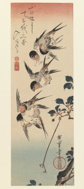 Utagawa Hiroshige (Ando) (Japanese, 1797-1858). <em>Wild Cherry and Swallows</em>, ca. 1830s. Color woodblock print on paper, 14 13/16 x 5 1/8 in. (37.7 x 13 cm). Brooklyn Museum, Gift of Louis V. Ledoux, 41.470 (Photo: Brooklyn Museum, 41.470_IMLS_PS3.jpg)