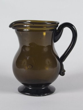 American. <em>Pitcher</em>, 19th Century. Glass, 7 x 3 3/4 in. (17.8 x 9.5 cm). Brooklyn Museum, Dick S. Ramsay Fund, 41.496. Creative Commons-BY (Photo: Brooklyn Museum, 41.496_PS5.jpg)