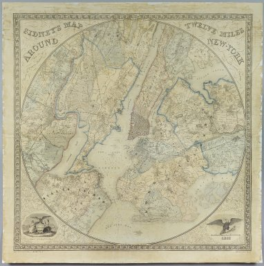 Norman Friend (born Denmark ca. 1815). <em>Sidney's Map Twelve Miles Around New York</em>, 1849. Chromo lithograph, 35 5/8 x 35 1/16 in. (90.5 x 89 cm). Brooklyn Museum, Gift of Daniel Berry Austin, 41.507 (Photo: Brooklyn Museum, 41.507_PS2.jpg)