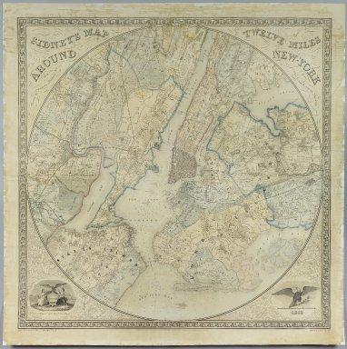 Norman Friend (born Denmark ca. 1815). <em>Sidney's Map Twelve Miles Around New York</em>, 1849. Chromo lithograph, 35 5/8 x 35 1/16 in. (90.5 x 89 cm). Brooklyn Museum, Gift of Daniel Berry Austin, 41.507 (Photo: Brooklyn Museum, 41.507_PS2.jpg)