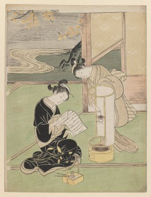 Suzuki Harunobu (Japanese, 1724-1770). <em>Sunset Glow of the Lamp, from the series Eight Views of the Parlor</em>, 1766. Color woodblock print on paper, 11 1/4 x 8 1/2 in. (28.5 x 21.6 cm). Brooklyn Museum, Frank L. Babbott Fund, 41.602 (Photo: Brooklyn Museum, 41.602_IMLS_PS3.jpg)