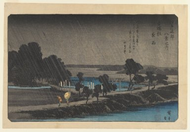Utagawa Hiroshige (Ando) (Japanese, 1797-1858). <em>Night Rain at Azuma-no-mori, from the series Eight Views in the Environs of Edo</em>, ca. 1837-1838. Color woodblock print with mica on paper, 8 3/4 x 13 13/16 in. (22.2 x 35.1 cm). Brooklyn Museum, Frank L. Babbott Fund, 41.604 (Photo: Brooklyn Museum, 41.604_IMLS_PS3.jpg)