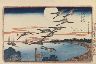 Utagawa Hiroshige (Ando) (Japanese, 1797-1858). <em>Full Moon at Takanawa (Takanawa no Meigetsu), from Celebrated Places in the Eastern Capital (Toto Meisho)</em>, ca. 1831. Color woodblock print on paper, Sheet: 10 3/16 x 15 3/16 in. (25.8 x 38.6 cm). Brooklyn Museum, Frank L. Babbott Fund, 41.605 (Photo: Brooklyn Museum, 41.605_IMLS_PS3.jpg)