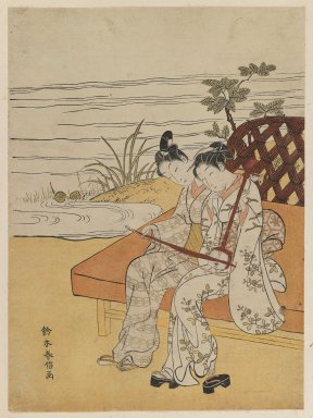 Suzuki Harunobu (Japanese, 1724-1770). <em>Couple Playing a Kokyū Together</em>, ca. 1768-1769. Color woodblock print on paper, 10 1/2 x 7 3/4 in. (26.7 x 19.7 cm). Brooklyn Museum, Frank L. Babbott Fund, 41.606 (Photo: Brooklyn Museum, 41.606_IMLS_PS3.jpg)