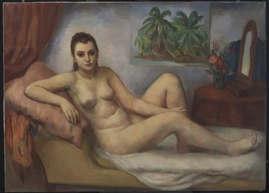 Bernard Karfiol (American, born Hungary, 1886-1952). <em>The Awakening</em>, ca. 1940. Oil on canvas, 45 x 59 in. (114.3 x 149.9 cm). Brooklyn Museum, John B. Woodward Memorial Fund, 41.680. © artist or artist's estate (Photo: Brooklyn Museum, 41.680.jpg)
