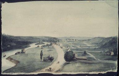 William Dunlap (American, 1766-1839). <em>Between Troy and Lansingburg</em>. Watercolor, 7 1/4 x 11 1/2 in. (18.4 x 29.2 cm). Brooklyn Museum, Dick S. Ramsay Fund, 41.683 (Photo: Brooklyn Museum, 41.683.jpg)