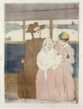 Mary Cassatt (American, 1844-1926). <em>In the Omnibus (The Tramway)</em>, 1890-1891. Black ink drypoint and color ink aquatint on cream, medium thick, moderately textured laid paper, 14 5/8 x 10 5/8 in. (36.5 x 26.5 cm). Brooklyn Museum, Dick S. Ramsay Fund, 41.685 (Photo: Brooklyn Museum, 41.685_SL1.jpg)