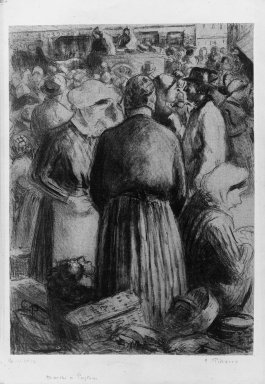 Camille Jacob Pissarro (French, 1830-1903). <em>Market at Pontoise (Marché à Pontoise)</em>, 1895. Lithograph on chine colle paper, 11 15/16 x 8 3/4 in. (30.4 x 22.3 cm). Brooklyn Museum, Dick S. Ramsay Fund, 41.687 (Photo: Brooklyn Museum, 41.687_acetate_bw.jpg)