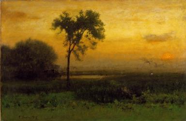George Inness (American, 1825-1894). <em>Sunrise</em>, 1887. Oil on canvas, frame: 45 3/8 x 60 1/2 x 4 1/2 in. (115.3 x 153.7 x 11.4 cm). Brooklyn Museum, Bequest of Mrs. William A. Putnam, 41.775 (Photo: Brooklyn Museum, 41.775_SL3.jpg)
