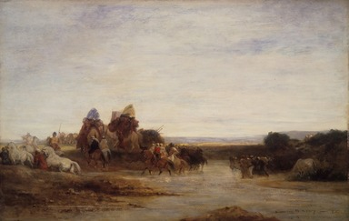 Eugène Fromentin (French, 1820-1876). <em>Crossing the Ford</em>, ca. 1860. Oil on panel, 13 9/16 x 21 3/16 in.  (34.4 x 53.8 cm). Brooklyn Museum, Bequest of Mrs. William A. Putnam, 41.781 (Photo: Brooklyn Museum, 41.781.jpg)