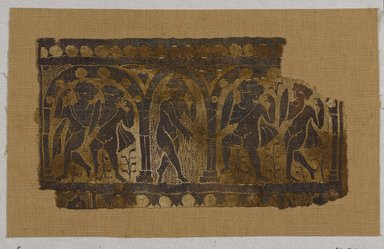 Coptic. <em>Dancers in an Arcade</em>, 6th century C.E. (probably). Flax, wool, 7 1/2 x 13 1/2 in. (19.1 x 34.3 cm). Brooklyn Museum, Gift of Pratt Institute, 41.796. Creative Commons-BY (Photo: Brooklyn Museum, 41.796_PS9.jpg)