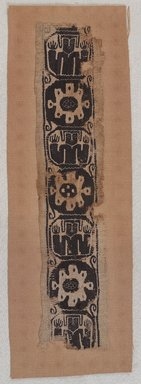 Coptic. <em>Band Fragment with Figural and Botanical Decoration</em>, 8th century C.E. or later. Flax, wool, 20 1/2 x 4 in. (52.1 x 10.2 cm). Brooklyn Museum, Gift of Pratt Institute, 41.803. Creative Commons-BY (Photo: , 41.803_PS9.jpg)