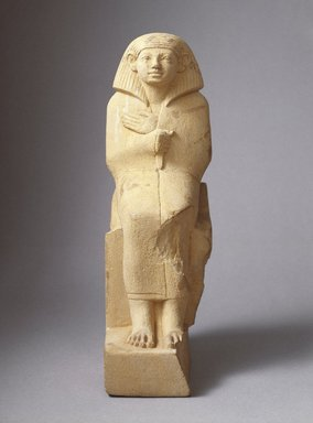 <em>Statuette of a Cloaked Figure</em>, ca. 1836-1759 B.C.E. Limestone, pigment, 9 1/16 x 5 3/8 in. (23 x 13.7 cm). Brooklyn Museum, Charles Edwin Wilbour Fund, 41.83. Creative Commons-BY (Photo: Brooklyn Museum, 41.83_SL1.jpg)