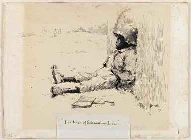 Edward Kemble (American, 1861-1933). <em>I'se Tired of Edicashun I Is</em>, 1897. Pen and ink on paperboard, sheet: 10 1/16 x 13 11/16 in. (25.6 x 34.8 cm). Brooklyn Museum, Gift of Walter H. Crittenden, 41.84 (Photo: Brooklyn Museum, 41.84_IMLS_PS3.jpg)