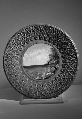 Matt Morgan Art Pottery Company (1882-1884). <em>Plate</em>, 1884. Earthenware Brooklyn Museum, Gift of Mrs. Julius Reiner, 41.851. Creative Commons-BY (Photo: Brooklyn Museum, 41.851_acetate_bw.jpg)