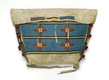 Sioux. <em>Tipi Bag</em>, early 20th century. Buffalo hide, beads, wool cloth, metal, 15 3/4 x 22 13/16 in. (40 x 57.9 cm). Brooklyn Museum, By exchange, 41.865. Creative Commons-BY (Photo: Brooklyn Museum, 41.865_PS2.jpg)