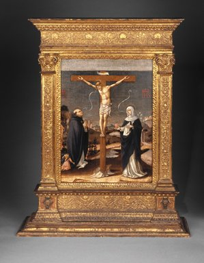 Lorenzo  d'Alessandro da San Severino (Italian, School of the Marches, documented 1462-1503). <em>Christ on the Cross Adored by Saints Thomas Aquinas and Catherine of Siena (Recto); Saint Dominic with Saints and Worshipping Nuns (Verso)</em>, ca. 1490. Tempera on two panels, 17 1/8 x 12 3/4 in.  (43.5 x 32.4 cm). Brooklyn Museum, Gift of Mrs. Felix M. Warburg in memory of her husband, 41.894a-b (Photo: Brooklyn Museum, 41.894_side1_SL1.jpg)