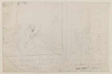 William Sidney Mount (American, 1807-1868). <em>Thoughts of the Moment</em>, May 1848. Graphite on paper, Sheet: 5 7/8 x 8 3/4 in. (14.9 x 22.2 cm). Brooklyn Museum, Gift of Jesse Merritt, 41.972 (Photo: Brooklyn Museum, 41.972_IMLS_PS3.jpg)