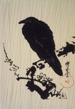 Kawanabe Kyosai (Japanese, 1831-1889). <em>Crow on Plum Branch in Rain</em>, ca. 1880-1889. Woodblock print on paper, 9 7/8 x 14 5/8 in. (25.1 x 37.1 cm). Brooklyn Museum, 41.977 (Photo: Brooklyn Museum, 41.977.jpg)