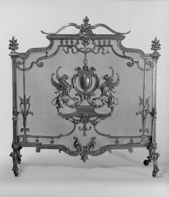 Unknown. <em>Fire Screen</em>, ca. 1881. Brass, 32 13/16 x 31 1/2 x 11 1/2 in. (83.3 x 80 x 29.2 cm). Brooklyn Museum, Gift of Mrs. William E. S. Griswold in memory of her father, John Sloane, 41.980.16. Creative Commons-BY (Photo: Brooklyn Museum, 41.980.16_bw.jpg)