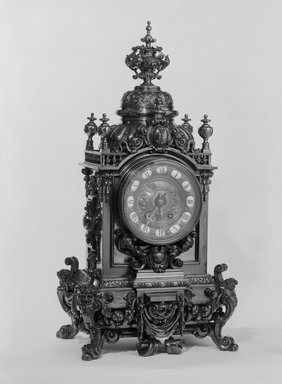 Unknown. <em>Clock, Part of a Three Piece Garniture</em>, ca. 1881. Brass, 30 1/2 x 15 x 11 1/2 in. (77.5 x 38.1 x 29.2 cm). Brooklyn Museum, Gift of Mrs. William E. S. Griswold in memory of her father, John Sloane, 41.980.17.1. Creative Commons-BY (Photo: Brooklyn Museum, 41.980.17.1_bw.jpg)