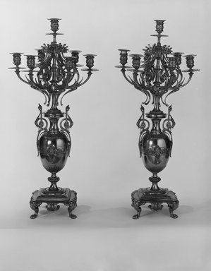 French. <em>Candelabra, One of a Pair in a Three Piece Garniture</em>, ca. 1881. Brass, 34 1/4 x 6 15/16 x 6 15/16 in. (87 x 17.7 x 17.7 cm). Brooklyn Museum, Gift of Mrs. William E. S. Griswold in memory of her father, John Sloane, 41.980.17.3. Creative Commons-BY (Photo: , 41.980.17.2_41.980.17.3_bw.jpg)