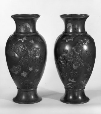 Japanese. <em>Pair of Vases</em>, 19th century. Bronze, 25 x 8 3/4 in. (63.5 x 22.2 cm). Brooklyn Museum, Gift of Mrs. William E. S. Griswold in memory of her father, John Sloane, 41.980.19a-b. Creative Commons-BY (Photo: Brooklyn Museum, 41.980.19a_41.980.19b_bw.jpg)