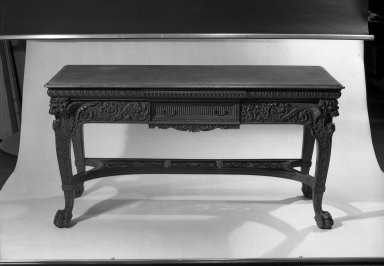 American. <em>Hall Table</em>, 1881. Oak, 32 3/16 x 28 1/16 x 26 1/8 in. (81.7 x 71.2 x 66.4 cm). Brooklyn Museum, Gift of Mrs. William E. S. Griswold in memory of her father, John Sloane, 41.980.1. Creative Commons-BY (Photo: Brooklyn Museum, 41.980.1_acetate_bw.jpg)