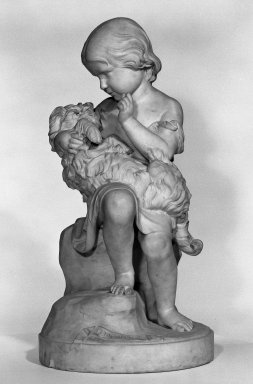 Joseph Durham (English, 1814-1877). <em>Go To Sleep</em>, 1863. Marble, height: 33 1/2 in.  (85.1 cm); diameter: 16 1/2 in. Brooklyn Museum, Gift of Mrs. William E. S. Griswold in memory of her father, John Sloane, 41.980.28. Creative Commons-BY (Photo: Brooklyn Museum, 41.980.28_bw.jpg)