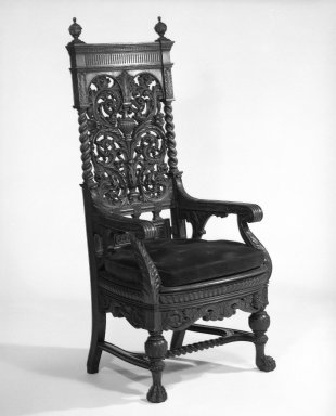 American. <em>Armchair</em>, ca. 1881. Oak, 59 x 26 x 21 15/16 in. (149.9 x 66 x 55.8 cm). Brooklyn Museum, Gift of Mrs. William E. S. Griswold in memory of her father, John Sloane, 41.980.2. Creative Commons-BY (Photo: Brooklyn Museum, 41.980.2_bw_IMLS.jpg)
