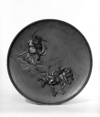 Japanese. <em>Plate</em>, 19th century. Bronze, 1 5/8 x 17 1/2 in. (4.1 x 44.5 cm). Brooklyn Museum, Gift of Mrs. William E. S. Griswold in memory of her father, John Sloane, 41.980.33. Creative Commons-BY (Photo: Brooklyn Museum, 41.980.33_bw.jpg)